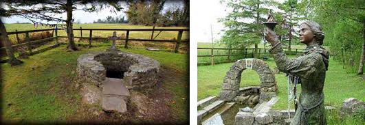 (L) St. Brigid's well, Kildare, Ireland. (R) Statue of St. Brigid Kildare, Ireland